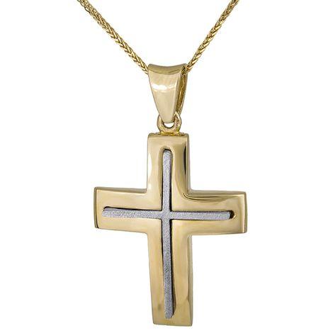 Βαπτιστικοί Σταυροί με Αλυσίδα Δίχρωμος σταυρός 14Κ με αλυσίδα C008316 008316C Ανδρικό Χρυσός 14 Καράτια