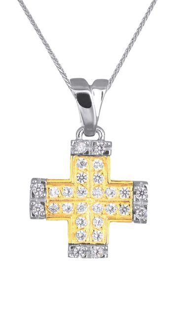 Βαπτιστικοί Σταυροί με Αλυσίδα ΔΙΧΡΩΜΟΣ ΠΕΤΡΑΤΟΣ ΣΤΑΥΡΟΣ ΜΕ ΑΛΥΣΙΔΑ 008891C Γυναικείο Χρυσός 14 Καράτια