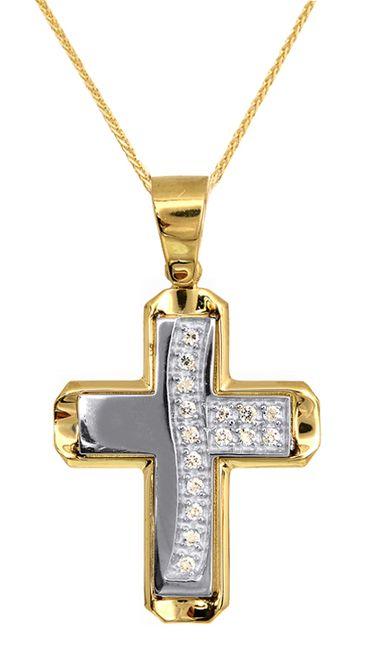 Βαπτιστικοί Σταυροί με Αλυσίδα Σταυρός Βάπτισης για Κορίτσι C009598 009598C Γυναικείο Χρυσός 14 Καράτια