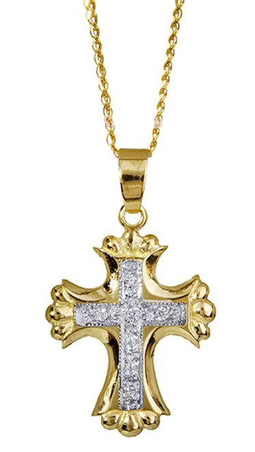 Βαπτιστικοί Σταυροί με Αλυσίδα Σταυρός με αλυσίδα 010343C Γυναικείο Χρυσός 14 Καράτια