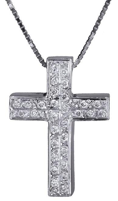 Βαπτιστικοί Σταυροί με Αλυσίδα Λευκόχρυσος σταυρός 18Κ με διαμάντια C011311 011311C Γυναικείο Χρυσός 18 Καράτια