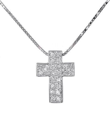 Βαπτιστικοί Σταυροί με Αλυσίδα Σταυρός λευκόχρυσος 18Κ με διαμάντια 011312 011312 Γυναικείο Χρυσός 18 Καράτια
