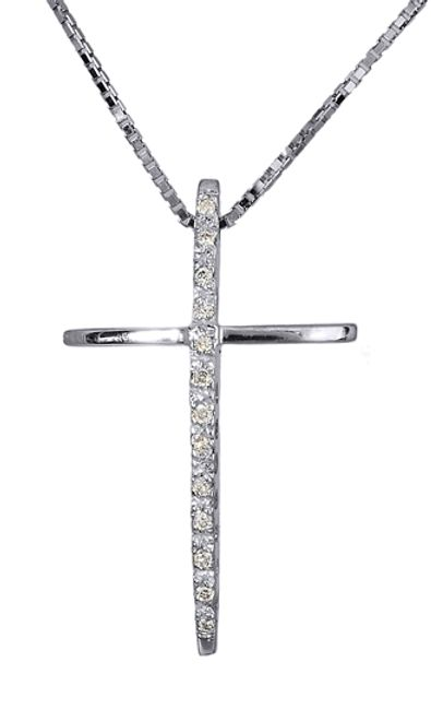 Βαπτιστικοί Σταυροί με Αλυσίδα Σταυρός λευκόχρυσος 18Κ με διαμάντια 011343 011343 Γυναικείο Χρυσός 18 Καράτια