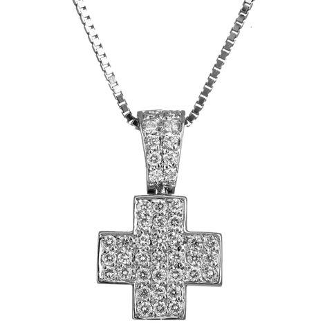 Βαπτιστικοί Σταυροί με Αλυσίδα Λευκόχρυσος σταυρός 18Κ με brilliant 011347c Γυναικείο Χρυσός 18 Καράτια