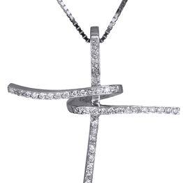 Βαπτιστικοί Σταυροί με Αλυσίδα Λευκόχρυσος σταυρός 18Κ με brilliant C011394 011394C Γυναικείο Χρυσός 18 Καράτια