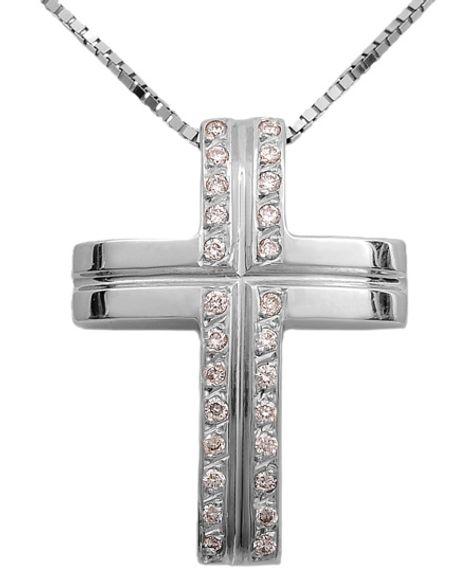 Βαπτιστικοί Σταυροί με Αλυσίδα Σταυρός λευκόχρυσος 18Κ με διαμάντια 011395 Γυναικείο Χρυσός 18 Καράτια