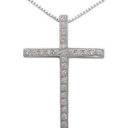 Βαπτιστικοί Σταυροί με Αλυσίδα Λευκόχρυσος σταυρός 18Κ με brilliant 011396 Γυναικείο Χρυσός 18 Καράτια