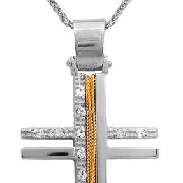 Βαπτιστικοί Σταυροί με Αλυσίδα Δίχρωμος χειροποίητος σταυρός με αλυσίδα Κ14 011427C Γυναικείο Χρυσός 14 Καράτια