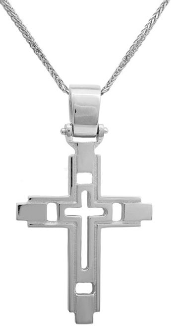 Βαπτιστικοί Σταυροί με Αλυσίδα Λευκόχρυσος σταυρός με αλυσίδα Κ14 C011462 011462C Ανδρικό Χρυσός 14 Καράτια