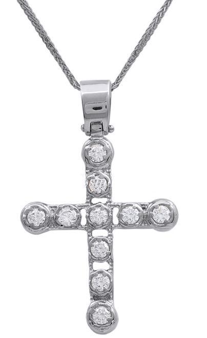 Βαπτιστικοί Σταυροί με Αλυσίδα Λευκόχρυσος σταυρός με αλυσίδα 14Κ 011469C Γυναικείο Χρυσός 14 Καράτια