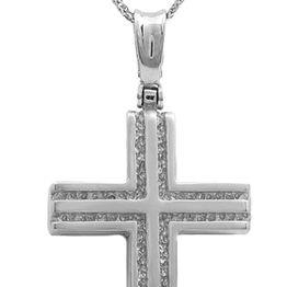 Βαπτιστικοί Σταυροί με Αλυσίδα Λευκόχρυσος σταυρός 14Κ με αλυσίδα 011516C Ανδρικό Χρυσός 14 Καράτια