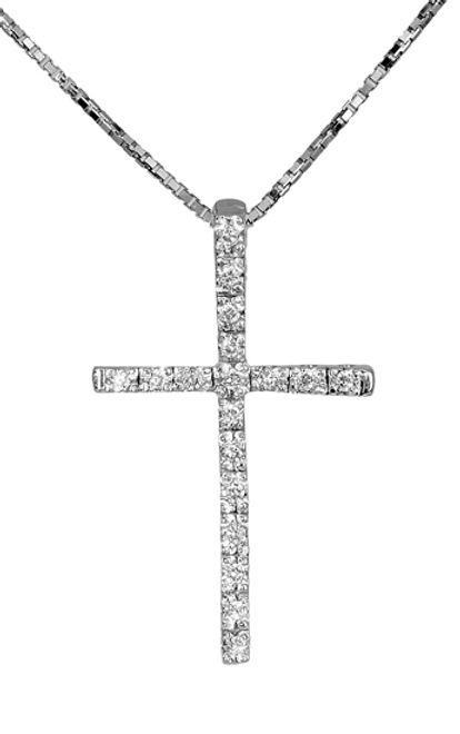 Βαπτιστικοί Σταυροί με Αλυσίδα Λευκόχρυσος σταυρός 18Κ με διαμάντια 011697 011697 Γυναικείο Χρυσός 18 Καράτια