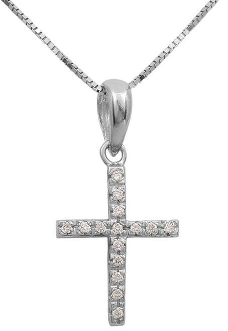 Βαπτιστικοί Σταυροί με Αλυσίδα Λευκόχρυσος σταυρός 18Κ με διαμάντια 011698 Γυναικείο Χρυσός 18 Καράτια