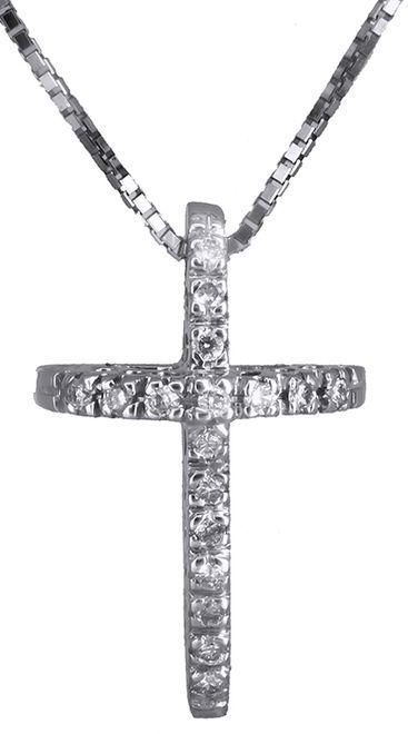Βαπτιστικοί Σταυροί με Αλυσίδα Λευκόχρυσος σταυρός με διαμάντια 18 καράτια 011710 011710 Γυναικείο Χρυσός 18 Καράτια