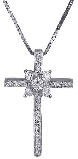 Βαπτιστικοί Σταυροί με Αλυσίδα Σταυρός λευκόχρυσος 18Κ με διαμάντια 011714 011714 Γυναικείο Χρυσός 18 Καράτια