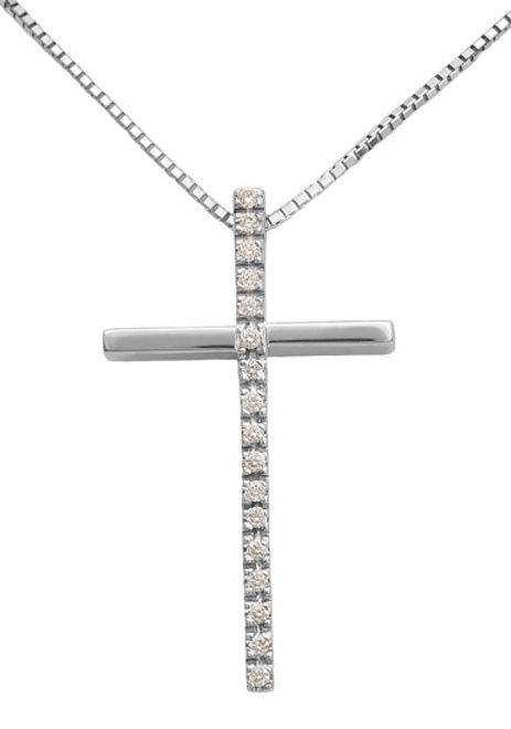 Βαπτιστικοί Σταυροί με Αλυσίδα Λευκόχρυσος σταυρός με διαμάντια 18Κ 011733 011733 Γυναικείο Χρυσός 18 Καράτια