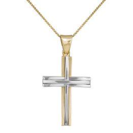 Βαπτιστικοί Σταυροί με Αλυσίδα Δίχρωμος σταυρός 14Κ με αλυσίδα 012173C Ανδρικό Χρυσός 14 Καράτια