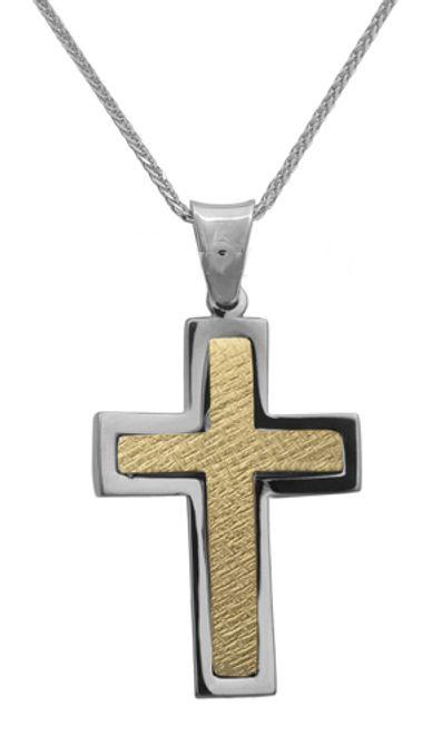 Βαπτιστικοί Σταυροί με Αλυσίδα Δίχρωμος σταυρός 14Κ με αλυσίδα 012299C Ανδρικό Χρυσός 14 Καράτια