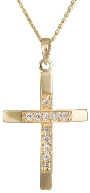 Βαπτιστικοί Σταυροί με Αλυσίδα Χρυσός σταυρός με αλυσίδα Κ14 C012922 012922C Γυναικείο Χρυσός 14 Καράτια
