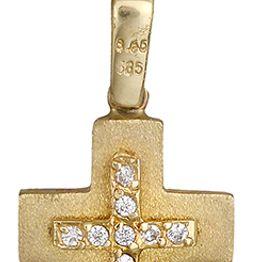 Βαπτιστικοί Σταυροί με Αλυσίδα Γυναικείος σταυρός διπλής όψης 14Κ C012965 012965C Γυναικείο Χρυσός 14 Καράτια