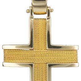 Βαπτιστικοί Σταυροί με Αλυσίδα Χειροποίητος σταυρός Κ18 με αλυσίδα C013045 013045C Ανδρικό Χρυσός 18 Καράτια