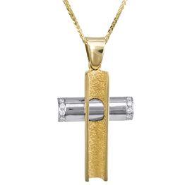 Βαπτιστικοί Σταυροί με Αλυσίδα Δίχρωμος σταυρός 18Κ με διαμάντια και αλυσίδα 013061C Γυναικείο Χρυσός 18 Καράτια