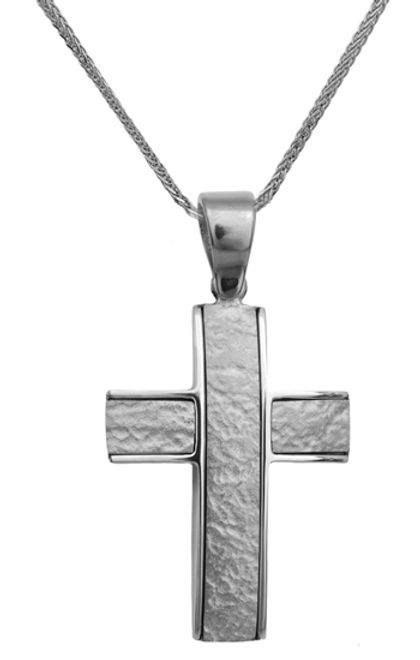 Βαπτιστικοί Σταυροί με Αλυσίδα Σταυρός λευκόχρυσος 14Κ με αλυσίδα 013845C Ανδρικό Χρυσός 14 Καράτια