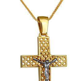 Βαπτιστικοί Σταυροί με Αλυσίδα ΔΙΧΡΩΜΟΣ ΣΤΑΥΡΟΣ 14Κ ΜΕ ΚΑΔΕΝΑ 014226C Ανδρικό Χρυσός 14 Καράτια