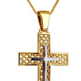 Βαπτιστικοί Σταυροί με Αλυσίδα ΔΙΧΡΩΜΟΣ ΣΤΑΥΡΟΣ 14Κ ΜΕ ΚΑΔΕΝΑ 014227C Ανδρικό Χρυσός 14 Καράτια