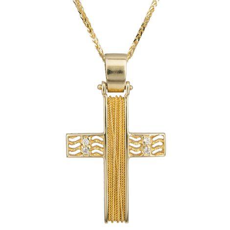 Βαπτιστικοί Σταυροί με Αλυσίδα Σταυρός βάπτισης με σύρμα Κ14 C014268 014268C Γυναικείο Χρυσός 14 Καράτια