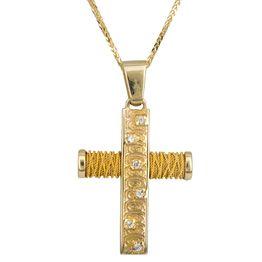 Βαπτιστικοί Σταυροί με Αλυσίδα ΧΡΥΣΟΣ ΣΥΡΜΑΤΕΡΟΣ ΣΤΑΥΡΟΣ 14Κ ΜΕ ΑΛΥΣΙΔΑ 014352C Γυναικείο Χρυσός 14 Καράτια
