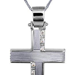 Βαπτιστικοί Σταυροί με Αλυσίδα Λευκός Χειροποίητος Σταυρός με Αλυσίδα 14Κ 014368C Γυναικείο Χρυσός 14 Καράτια