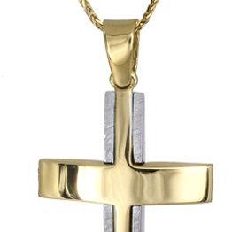 Βαπτιστικοί Σταυροί με Αλυσίδα ΑΝΤΡΙΚΟΣ ΔΙΧΡΩΜΟΣ ΣΤΑΥΡΟΣ Κ14 ΜΕ ΑΛΥΣΙΔΑ 014845C Ανδρικό Χρυσός 14 Καράτια