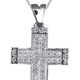 Βαπτιστικοί Σταυροί με Αλυσίδα Βαπτιστικό Σετ από Λευκόχρυσο Σταυρό και Αλυσίδα 14Κ 014977C Γυναικείο Χρυσός 14 Καράτια