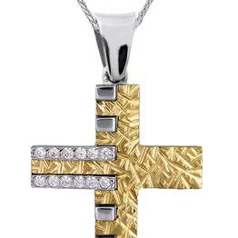Βαπτιστικοί Σταυροί με Αλυσίδα Δίχρωμος Γυναικείος Σταυρός με Αλυσίδα Κ9 015087C Γυναικείο Χρυσός 9 Καράτια