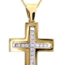 Βαπτιστικοί Σταυροί με Αλυσίδα ΔΙΧΡΩΜΟΣ ΠΕΤΡΑΤΟΣ ΣΤΑΥΡΟΣ Κ9 ΜΕ ΑΛΥΣΙΔΑ 015091C Γυναικείο Χρυσός 9 Καράτια