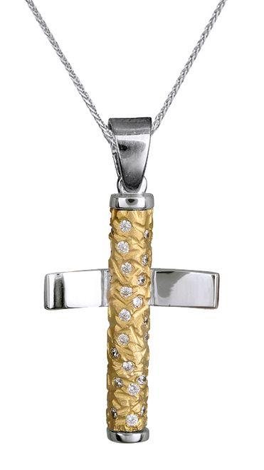 Βαπτιστικοί Σταυροί με Αλυσίδα Βαπτιστικός Δίχρωμος Σταυρός Κ14 για Κοριτσάκι με Αλυσίδα 015102C Γυναικείο Χρυσός 14 Καράτια