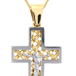 Βαπτιστικοί Σταυροί με Αλυσίδα ΔΙΧΡΩΜΟΣ ΑΠΕΤΡΟΣ ΣΤΑΥΡΟΣ 14Κ ΜΕ ΑΛΥΣΙΔΑ 015114C Ανδρικό Χρυσός 14 Καράτια