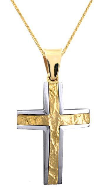 Βαπτιστικοί Σταυροί με Αλυσίδα ΑΝΤΡΙΚΟΣ ΔΙΧΡΩΜΟΣ ΣΤΑΥΡΟΣ 14 ΜΕ ΑΛΥΣΙΔΑ 015118C Ανδρικό Χρυσός 14 Καράτια