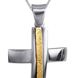 Βαπτιστικοί Σταυροί με Αλυσίδα ΣΕΤ ΑΠΟ ΔΙΧΡΩΜΟ ΣΤΑΥΡΟ ΚΑΙ ΑΛΥΣΙΔΑ 14 ΚΑΡΑΤΙΑ 015120C Ανδρικό Χρυσός 14 Καράτια