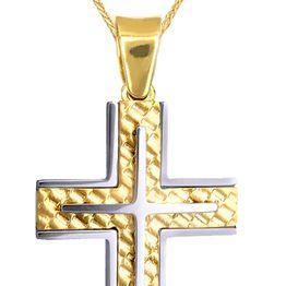 Βαπτιστικοί Σταυροί με Αλυσίδα ΒΑΠΤΙΣΤΙΚΟ ΣΕΤ ΚΑΙ ΣΕΤ ΑΡΡΑΒΩΝΑ ΑΠΟ ΔΙΧΡΩΜΟ ΣΤΑΥΡΟ ΚΑΙ ΑΛΥΣΙΔΑ c015139 015139C Ανδρικό Χρυσός 9 Καράτια