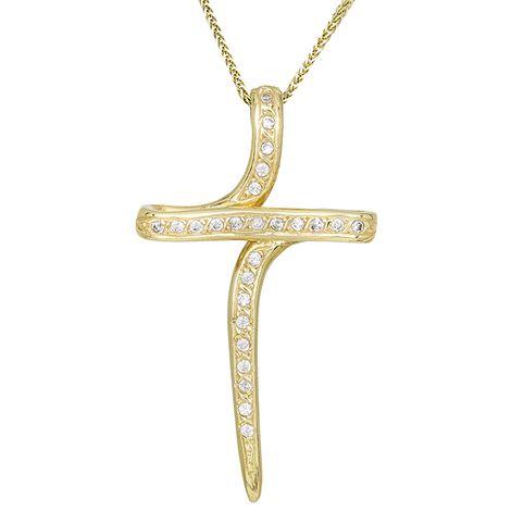 Βαπτιστικοί Σταυροί με Αλυσίδα Χρυσός πετράτος σταυρός Κ14 015817C 015817C Γυναικείο Χρυσός 14 Καράτια