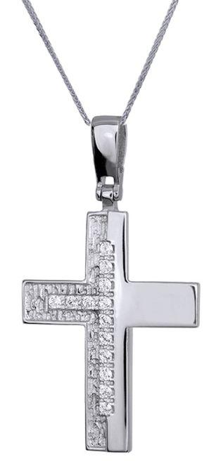 Βαπτιστικοί Σταυροί με Αλυσίδα Λευκόχρυσος Σταυρός C016174 016174C Γυναικείο Χρυσός 14 Καράτια