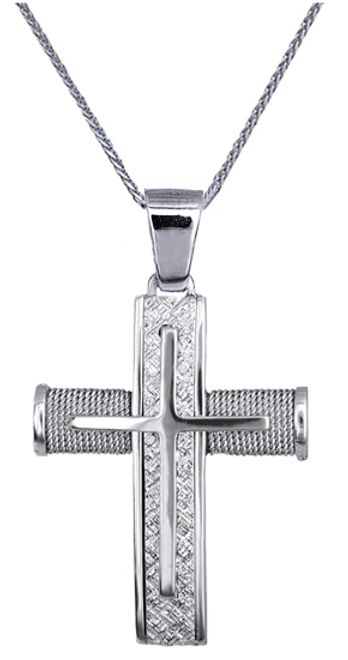 Βαπτιστικοί Σταυροί με Αλυσίδα ΣΤΑΥΡΟΙ ΛΕΥΚΟΧΡΥΣΟΙ C016552 016552C Ανδρικό Χρυσός 14 Καράτια
