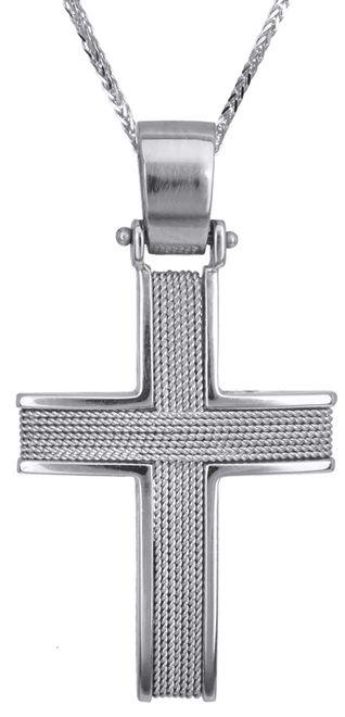 Βαπτιστικοί Σταυροί με Αλυσίδα Λευκόχρυσοι Ανδρικοί Σταυροί C016592 016592C Ανδρικό Χρυσός 14 Καράτια