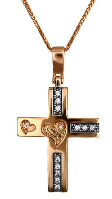 Βαπτιστικοί Σταυροί με Αλυσίδα Σταυρός Ροζ Χρυσό C016608 016608C Γυναικείο Χρυσός 14 Καράτια