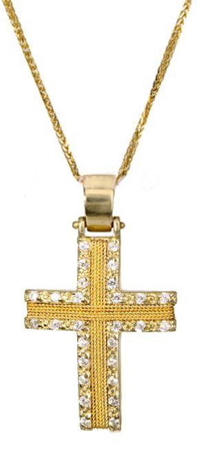Βαπτιστικοί Σταυροί με Αλυσίδα ΣΤΑΥΡΟΣ ΓΙΑ ΑΡΡΑΒΩΝΑ 017093C Γυναικείο Χρυσός 14 Καράτια