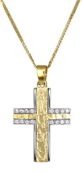 Βαπτιστικοί Σταυροί με Αλυσίδα Γυναικείος σταυρός c017373 017373C Γυναικείο Χρυσός 14 Καράτια