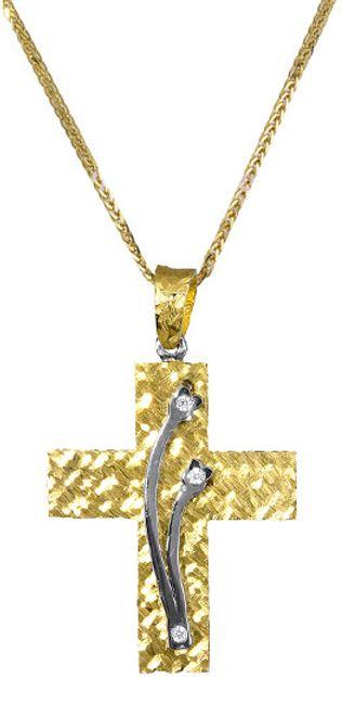 Βαπτιστικοί Σταυροί με Αλυσίδα Σταυρός διπλής όψης 017377C Γυναικείο Χρυσός 14 Καράτια