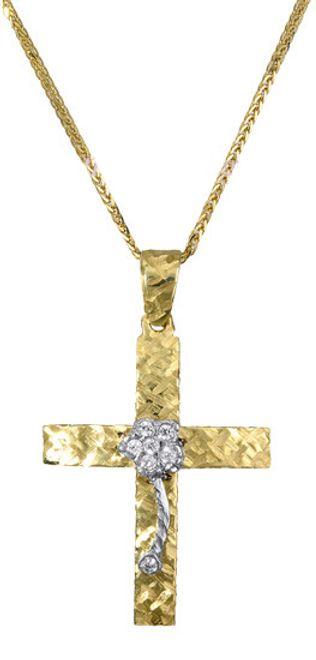 Βαπτιστικοί Σταυροί με Αλυσίδα Χρυσός σταυρός με αλυσίδα c017385 017385C Γυναικείο Χρυσός 14 Καράτια